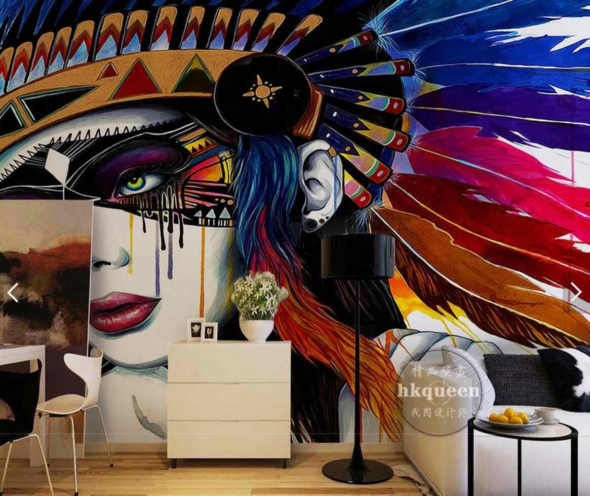 Eropa Gaya India 3D Lukisan Minyak Abstrak Foto Wallpaper Mural untuk TV Latar Belakang Kertas Dinding Dekorasi Rumah Ukuran Custom Mural