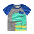 Brand Summer Boys T-shirts Cartoon Hippo Patchwork Printed Children Tops 2-8 Years Kids T-shirt For Boys 2016 Fashion New
