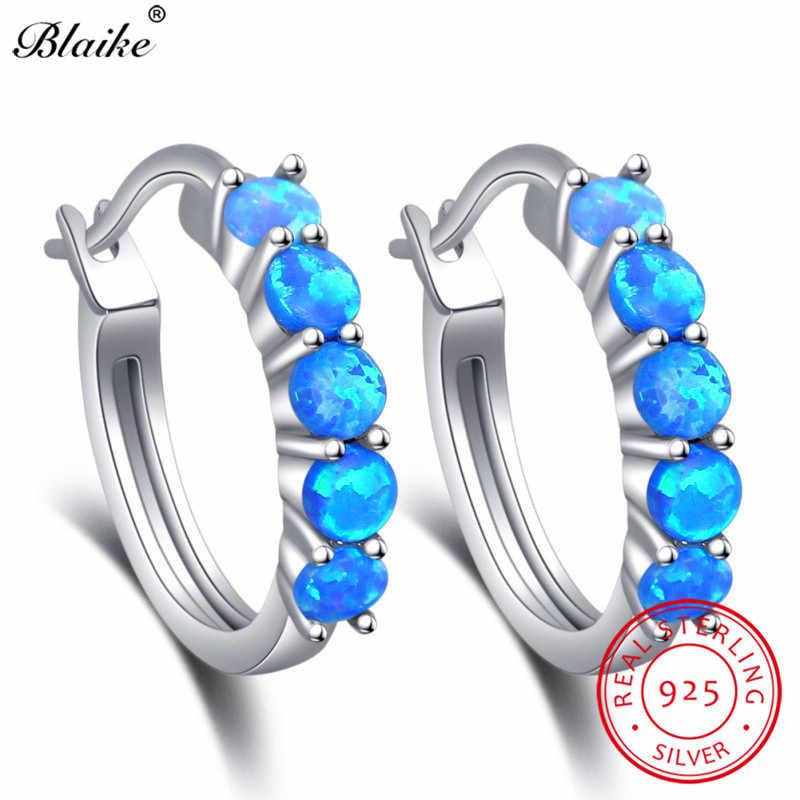 Blaike 925 Sterling Silver Round Hoop Earrings For Women Blue White Fire  Opal Earrings Rainbow 55f260726288
