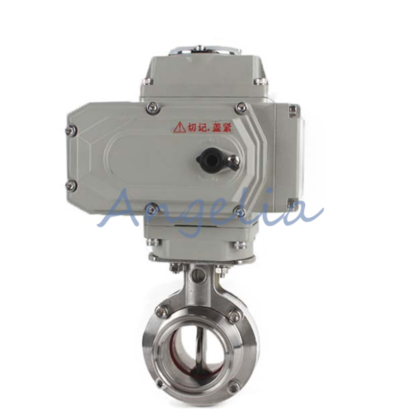 1 Stainless Steel 304 Sanitary Motorized Butterfly Valve Tri Clamp 220VAC цена
