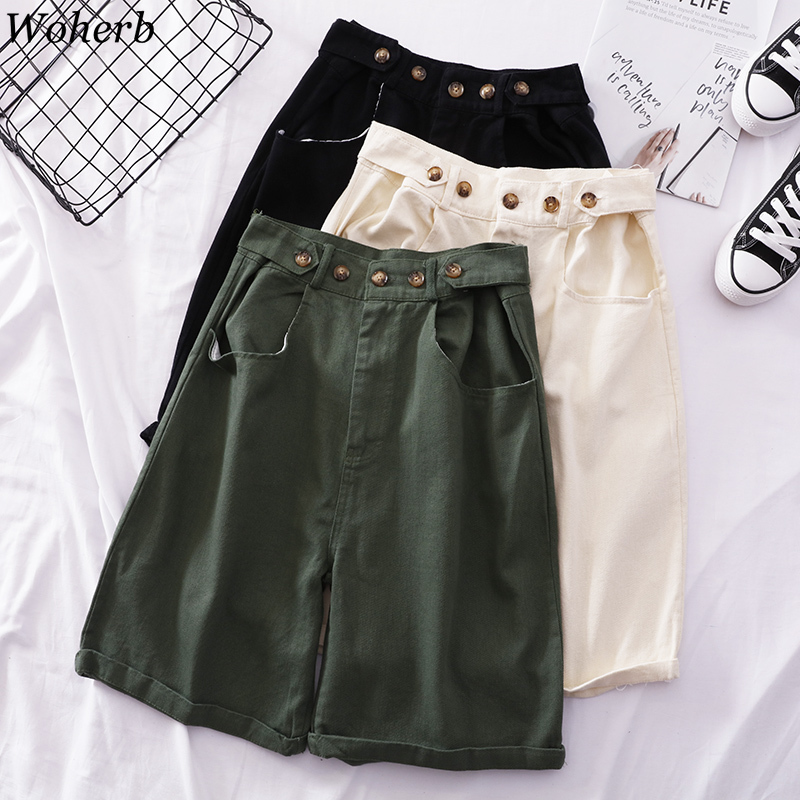 Woherb 2019 New Korean Harajuku Adjustable Button High Waist   Wide     Leg     Pants   Women Casual Summer Knee Length Cargo   Pant   22652