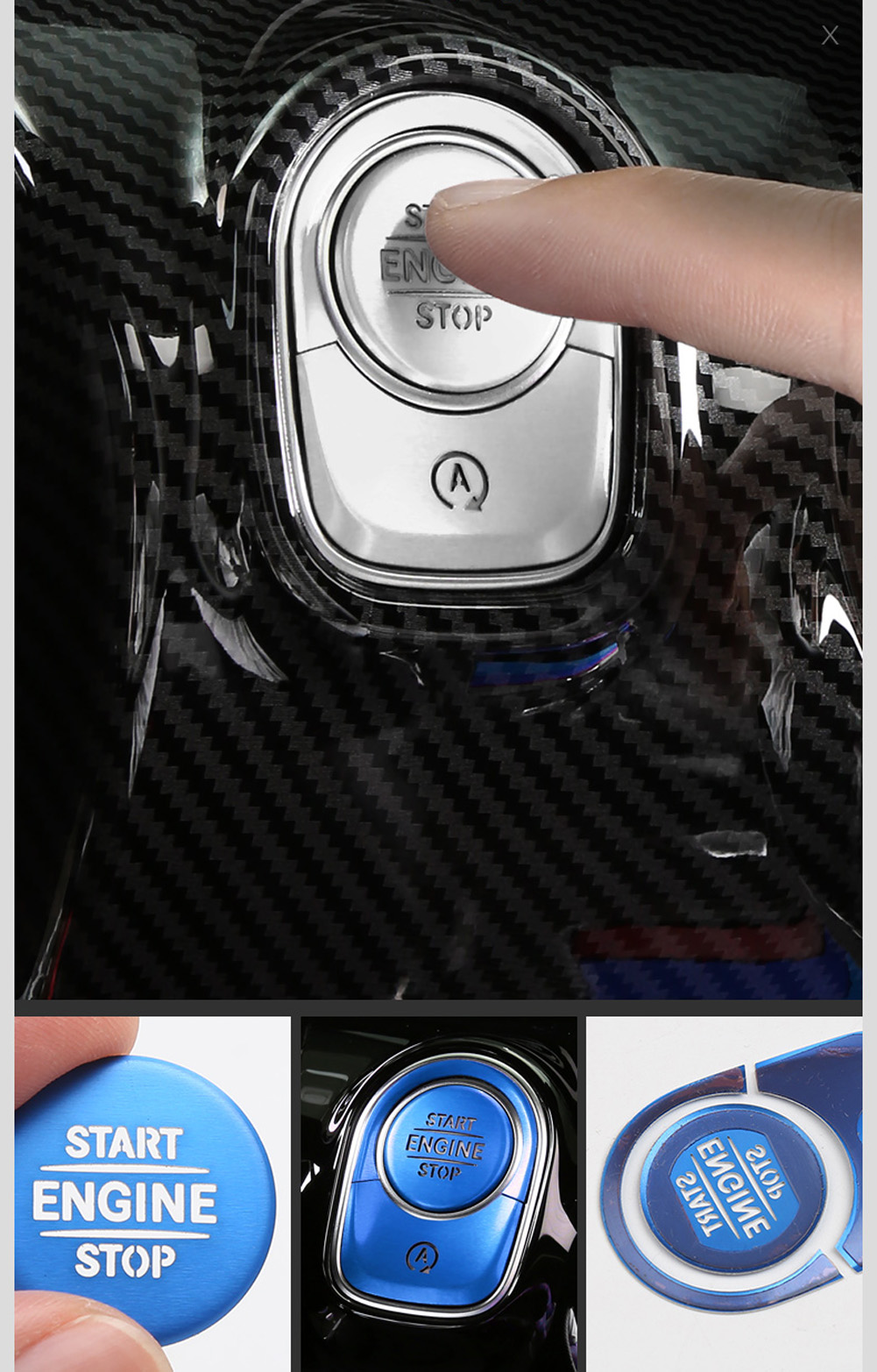 Car Engine Start Stop Switch Push Button Ring Trim Cover Stickers For  Mercedes Benz A Class W177 V177 A180 A200 A220 A250 2019+