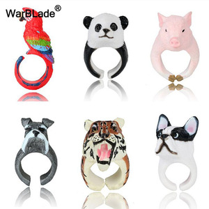 WarBLade Trendy Lovely Pink Pig Rings Cute Cat Dog Rabbit Tiger Panda 3D Animal Finger Rings For Women Cartoon Cuff Ring Jewelry(China)