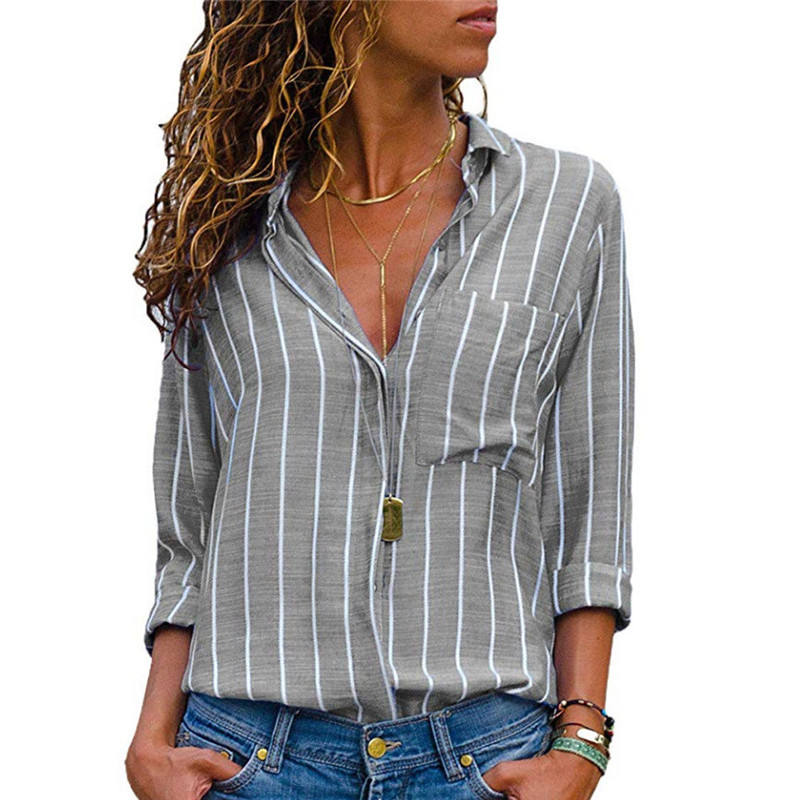 Fashion Women's Long Sleeve Loose V-neck   Blouse   Lapel Casual Tops Striped Button-Up   Shirt   Autumn Plus Size Office Work OL   Blouse