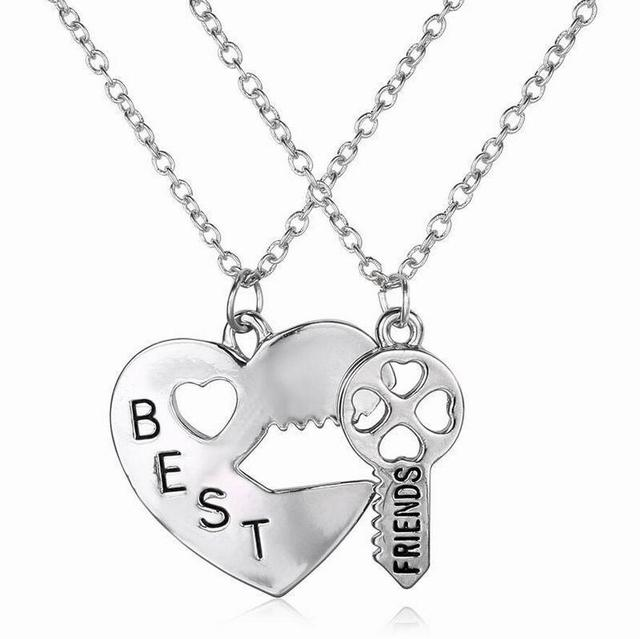 ba09565a7e Best Friends Carving Word Couple Necklaces Heart & Key Pair Pendant Necklace  Hot Fashion Jewelry Cheap Birthday Present Sweet