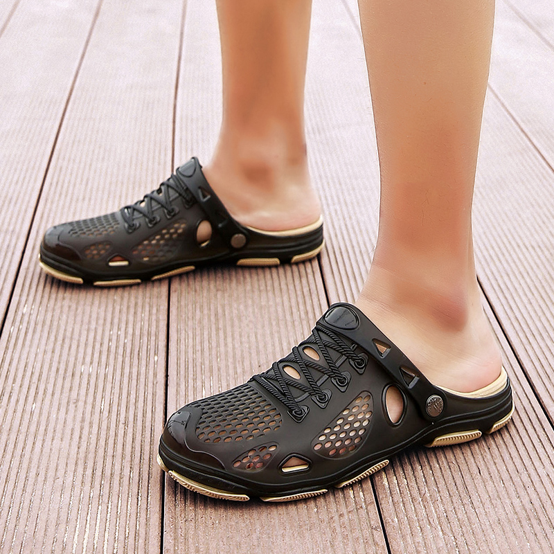 Men Water Shoes Sandals Summer Slippers Aqua Shoes Fashion Beach Sandals Casual Clogs Flats Slip On Hole Men Hollow Shoes in Upstream Shoes from Sports Entertainment