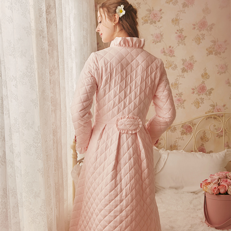 Image 3 - Winter Robe Sleepwear Ladies Cotton Long Robe Women Vintage Sleepwear Women Sleep Homewear Ware Nightgown Robes High quality-in Robes from Underwear & Sleepwears on AliExpress