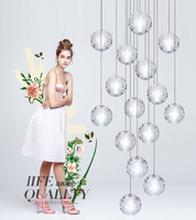 Shustar G4 LED Crystal Glass Ball Meteoric Shower Chandelier Lighting AC110 240V For Hotel Hall Dinning