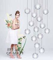 Shustar G4 LED Crystal Glass Ball Meteoric Shower Chandelier Lighting AC110 240V For Hotel Hall Dinning