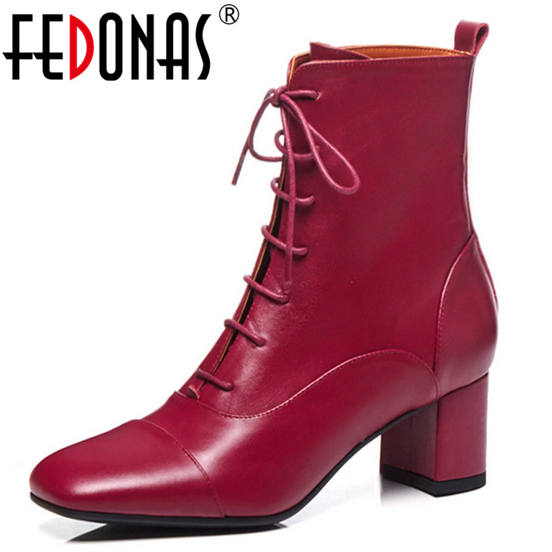 FEDONAS 2019 New Mid-calf Boots High Heels Autumn Winter Lace Up Ladies Shoes Woman Square Toe Elegant Office Pumps Ladies BootsFEDONAS 2019 New Mid-calf Boots High Heels Autumn Winter Lace Up Ladies Shoes Woman Square Toe Elegant Office Pumps Ladies Boots