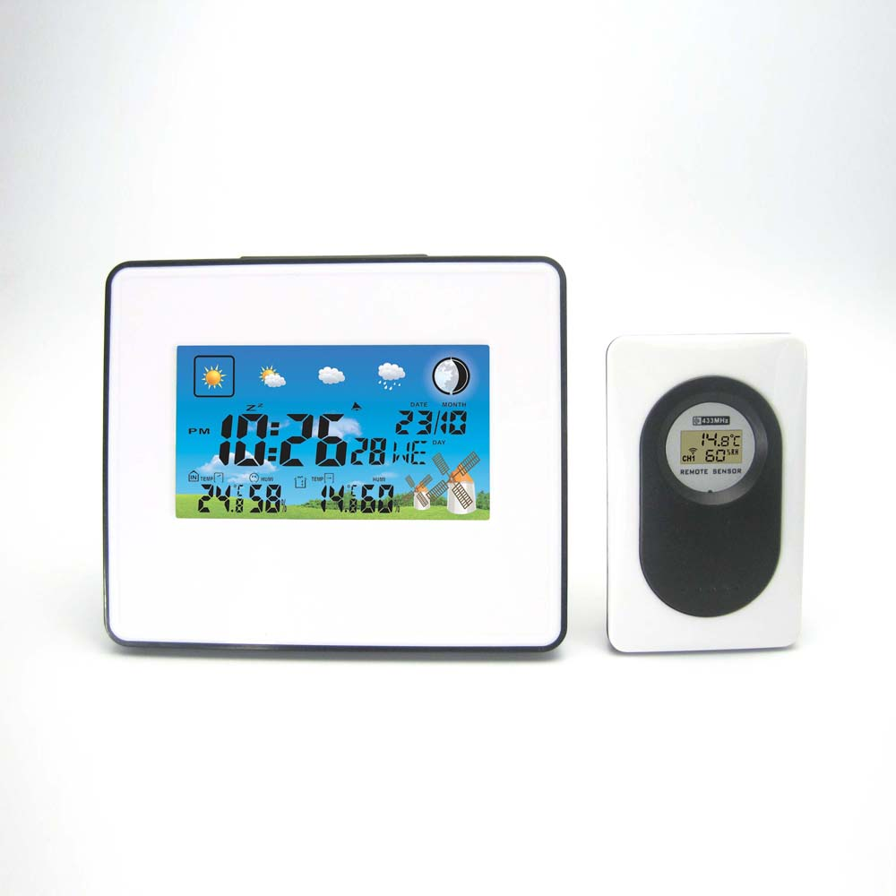 White Grassland DYKIE Weather Station with Digital Clock Barometer Indoor Outdoor Temperature Humidity for Home/Office Decorate digital indoor air quality carbon dioxide meter temperature rh humidity twa stel display 99 points made in taiwan co2 monitor