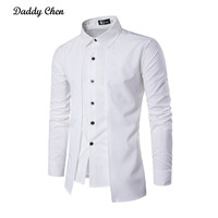 Daddy Chen 2017 Casual Men Shirt Mens Long Sleeve Solid Color Social Dress Shirts Slim Fit
