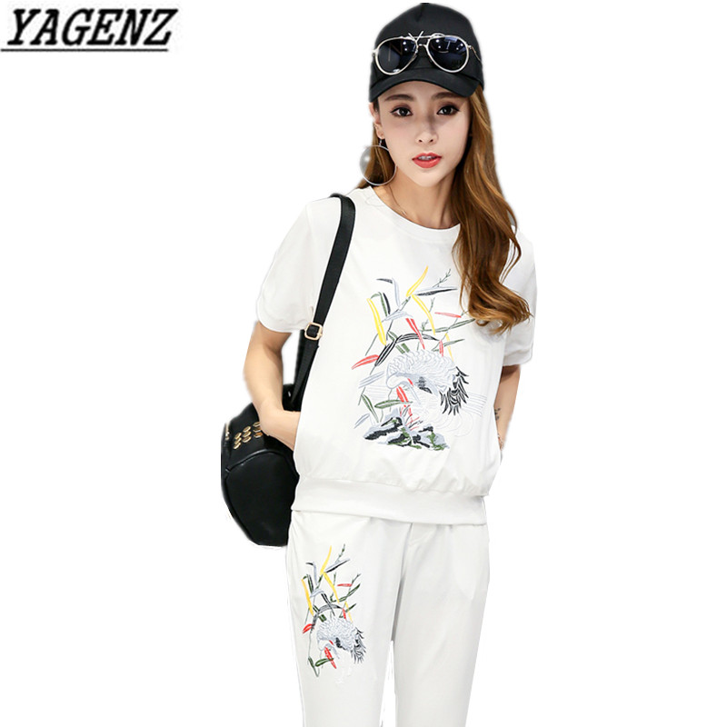 YAGENZ Summer Women Sportswear Suit Loose Sweatshirt O neck Embroidery Casual 2 piece set Trousers Sporting