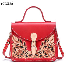 Leather Chinese Style Hand Sewing Crossbody Bag With Handle Vintage Ethnic Shoulder Bag Hasp Flap Carving Flower Women Handbag