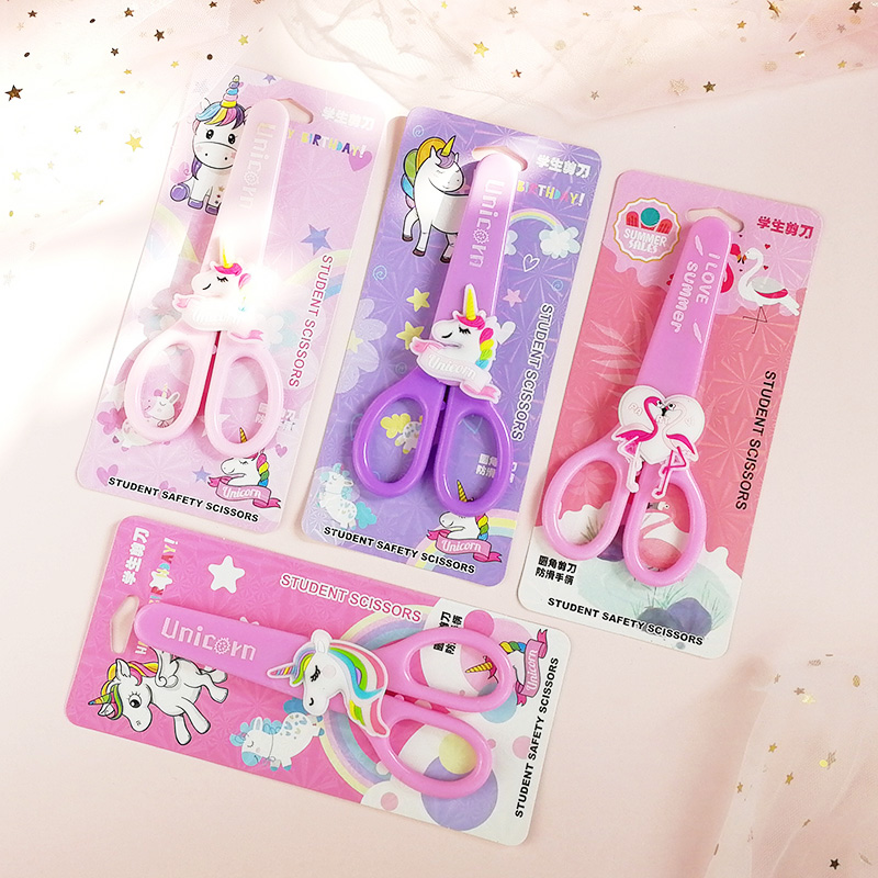 Cartoon Unicorn Flamingo Student Safety Paper-cut Art Scissors With Protective Cover Cap Office School Supply Kids Stationery
