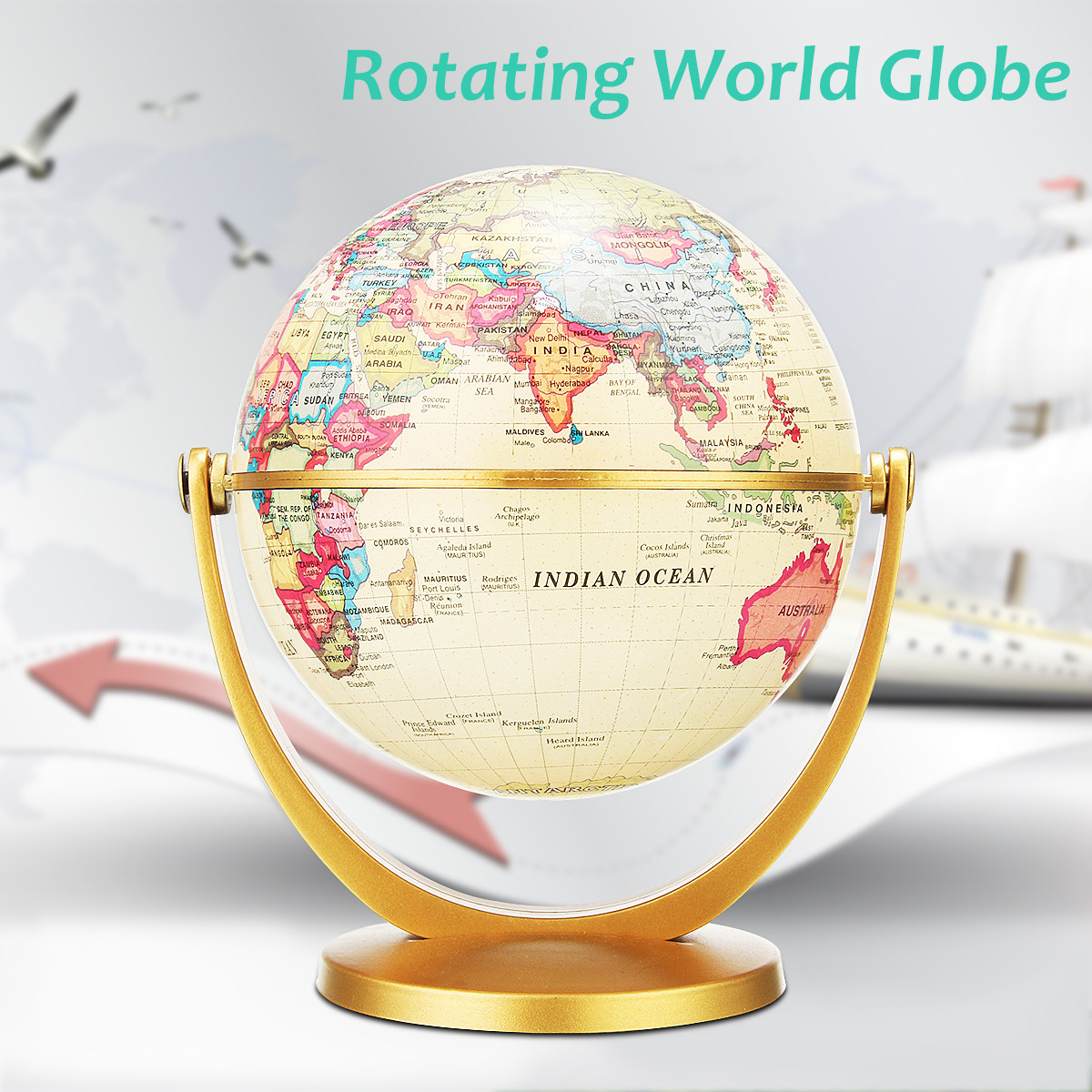 12cm English Edition Rotate Globe World Earth Map Antique Desktop Decorative World Geography Educational Home Office Decoration