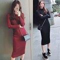 2015 de inverno coreano novas magro longo fio malha saco hip filho vestido de mangas compridas