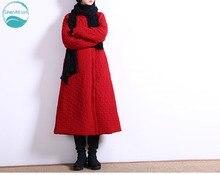 LinenAll 2016 оригинальный дизайн женщина Осень свободно длинный абзац утолщение хлопка lienall длинными рукавами траншеи верхняя одежда Yanmo