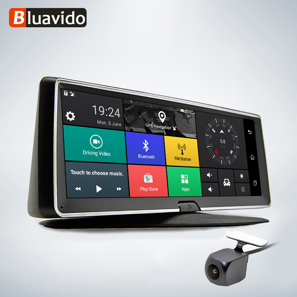 Bluavido 8 Inch 4G Car DVR camera GPS FHD 1080P Android Navigation ADAS Night Vision Dash