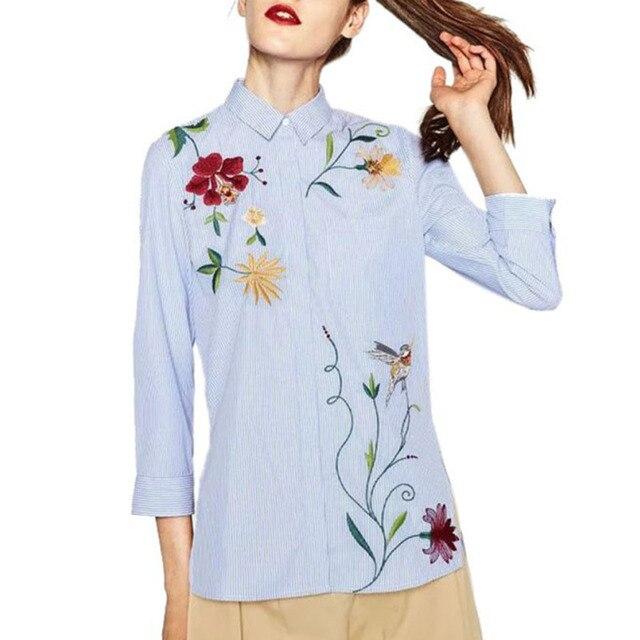 Chic floral bordado mulheres blusas de Inverno de manga comprida camisa listrada mulheres tops 2016 Casual padrão pássaro chemise femme