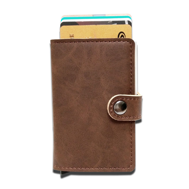 RFID Protected Vintage Automatic Leather Credit Card Holder Men ...