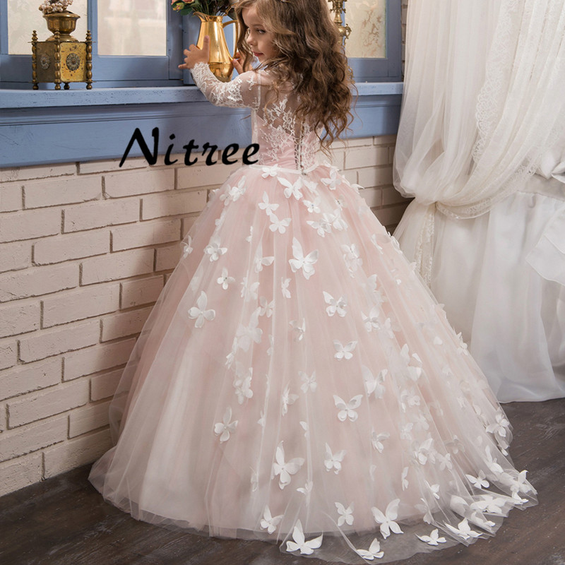2017 Pink Butterfly   Flower     Girl     Dresses   For Weddings Long Sleeves Pearls Ball Gown Kids Prom Gowns First Communion   Dress   Multi