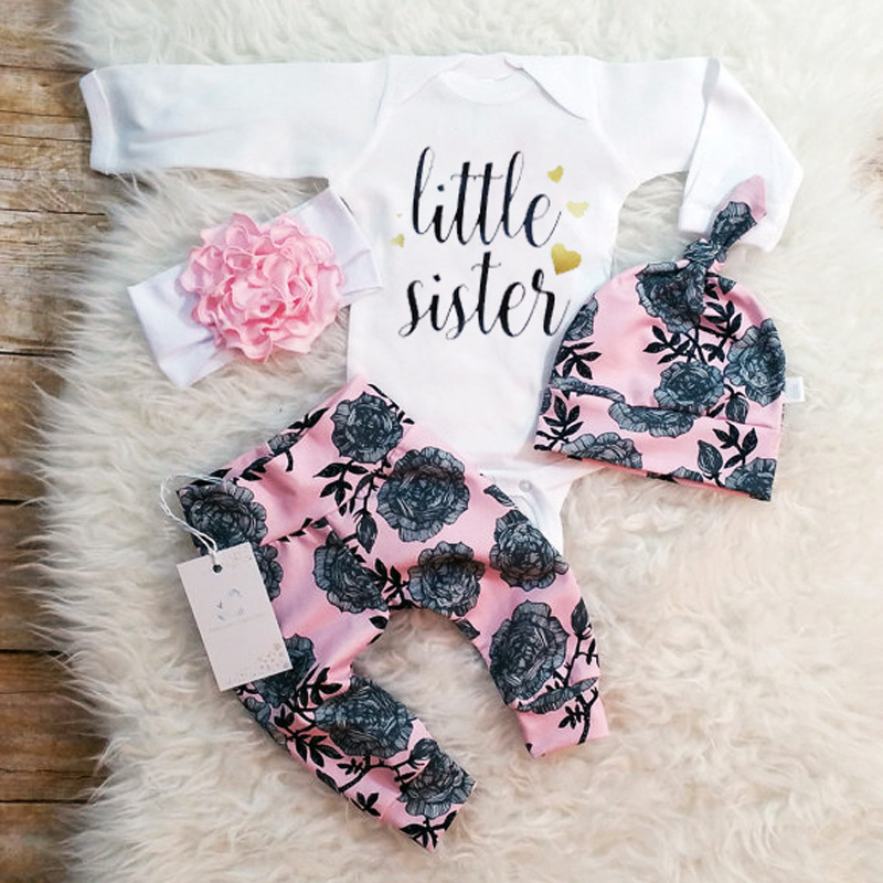 e21425864 Binhbet 4 piezas recién nacido bebé Niñas Ropa de manga larga Tops mameluco  pantalones diadema sombrero trajes kiz bebebek giyim lindo Floral bodies