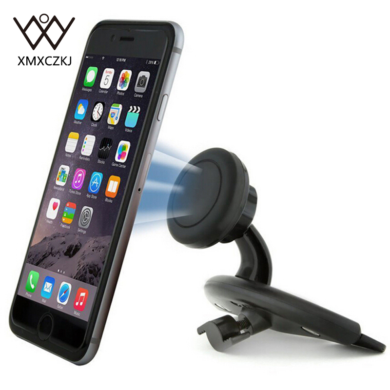 XMXCZKJ Universal CD Slot Magnetic Car Mount Holder for iPhone 8 7 6 360 Degree Magnet Mobile Phone Holder Stand Bracket GPS