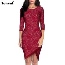 Tonval Womens 2/3 Kol Dantel Elbise Vintage Akşam Seksi Parti Balo Zarif Kırmızı Bodycon Ofis Vestidos Kılıf Elbiseler