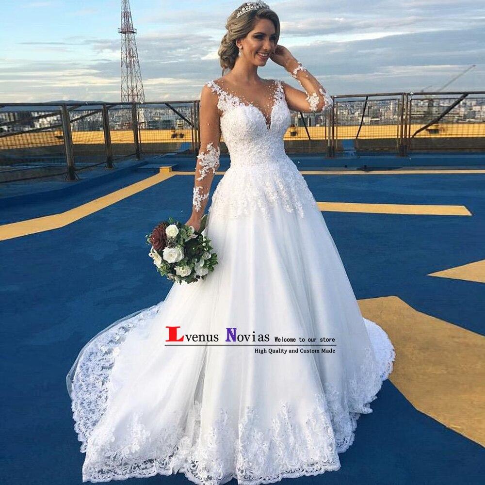 2113aaae2146 Ver Através Voltar Vestido de Noiva Vestido de Noiva Sexy Bohemian Estilo  Manga Comprida Vestidos de