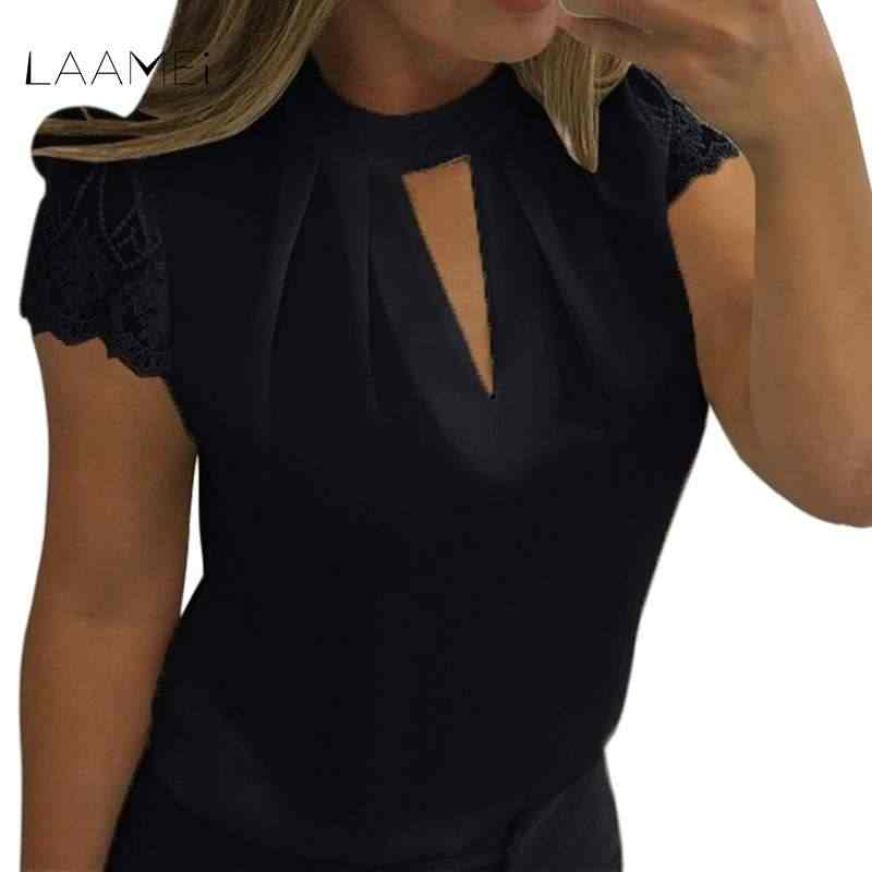 Laamei 2018 Women V Cut Neck Patchwork Lace Shirts Sexy Stand Collar Pleated Blouse Sexy Solid Casual Lace Summer Blouse Tops