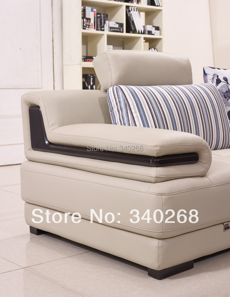 New Arrival Modern Style Leather Sofa With Cushions L Shape Lounge  ~ Beige Color Leather Sofa