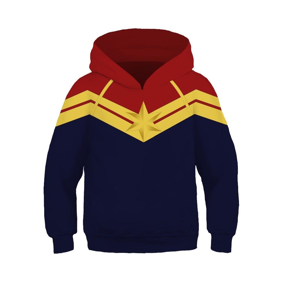 Kids Girls Captain Marvel Cosplay Costumes Hoodies Fashion Pullover Ms Marvel Carol Danvers Superhero Sweatshirt Spring Tops