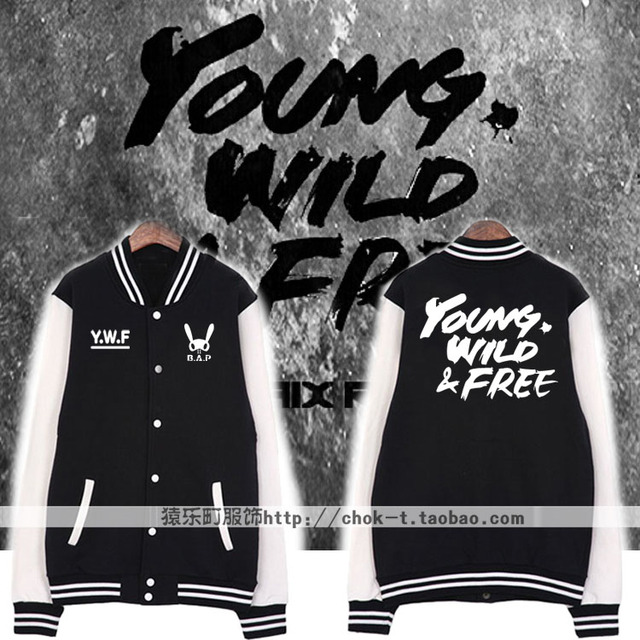 Kpop fans supportive single breasted baseball jacket bap b.a.p young  wild free printing hoodie jacket b636e8384d2e
