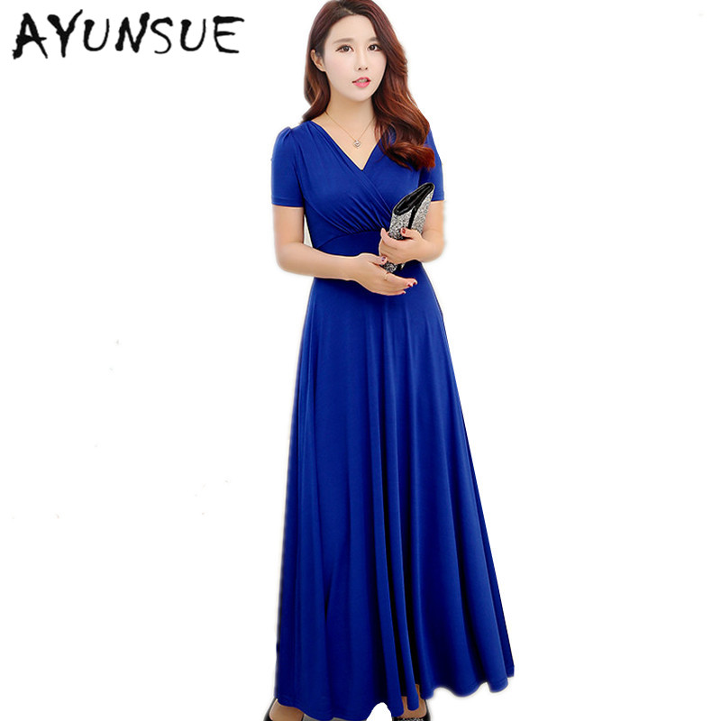 US $18.55 58% OFF|New Slim V neck Women Summer Dress 2019 Royal Blue Casual  Dress Women Maxi Dresses Plus Size Womens Clothing Robe Femme FYY388-in ...