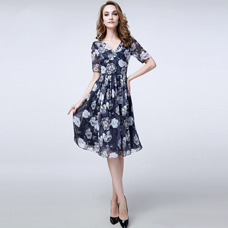 Silk Summer Dress 2553New Designal Natural Silk Georgette Dress/Blue Floral Womens Summer ...