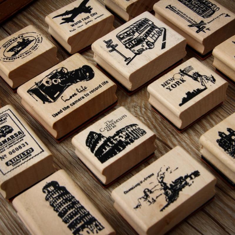 1 Pcs/set Retro World Scenery Wooden Rubber Stamp Kids DIY Handmade Scrapbook Photo Album, Students Stamp Arts, Crafts Gifts