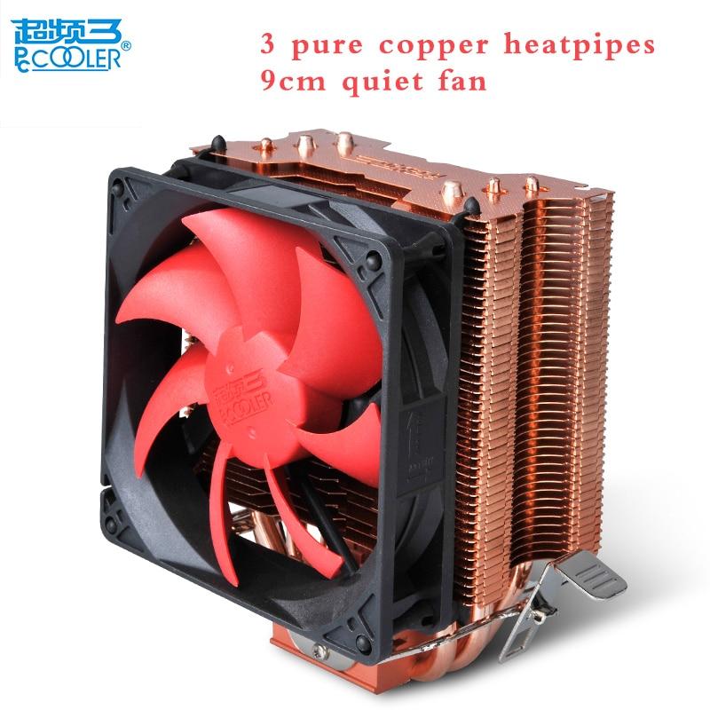 Pccooler cpu cooler copper plating 3 heatpipes 9cm quiet fan for AMD FM Intel 775 1150 1151 1155 1156 CPU cooling radiator fan daul 10cm fan 5 heatpipe copper for nvidia ati graphics cooler vga cooler vga fan pccooler k100