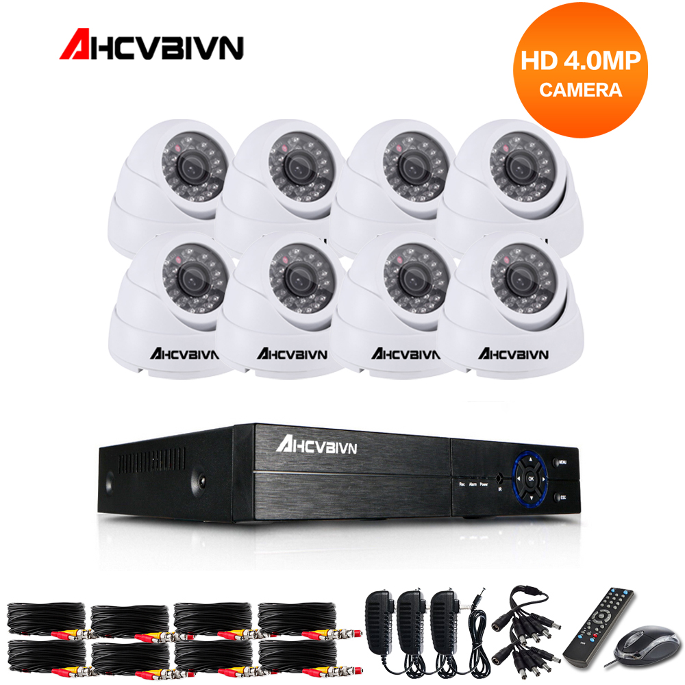 цена на 8CH CCTV Security Camera System HD 4MP AHD DVR 8PCS 4.0MP indoor Dome CCTV Camera System 8 Channel Video Surveillance Kit