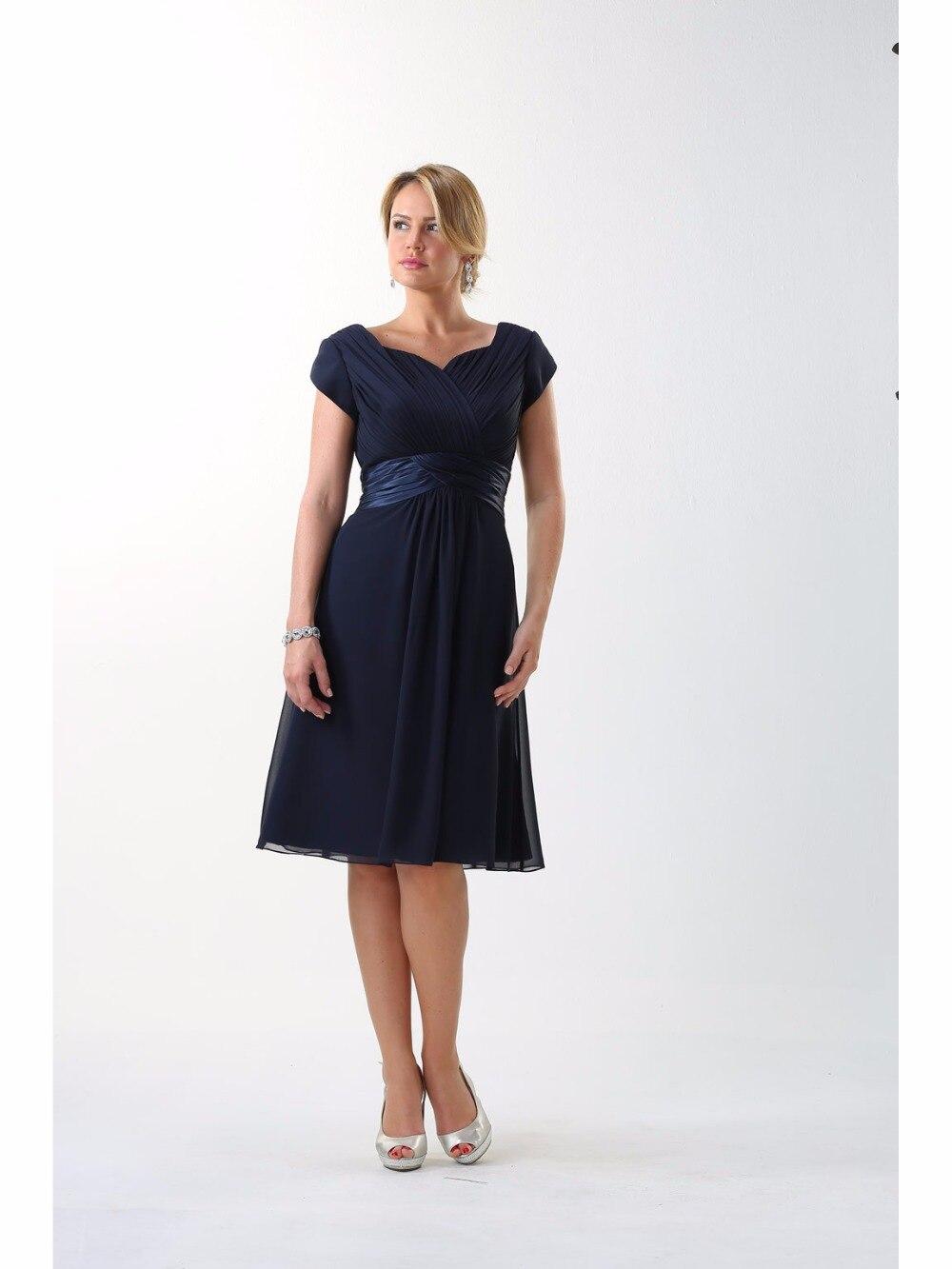 Online get cheap modest bridesmaid dresses with sleeves navy navy blue short modest bridesmaid dresses with cap sleeves sweetheart navy blue informal beach summer maids ombrellifo Gallery