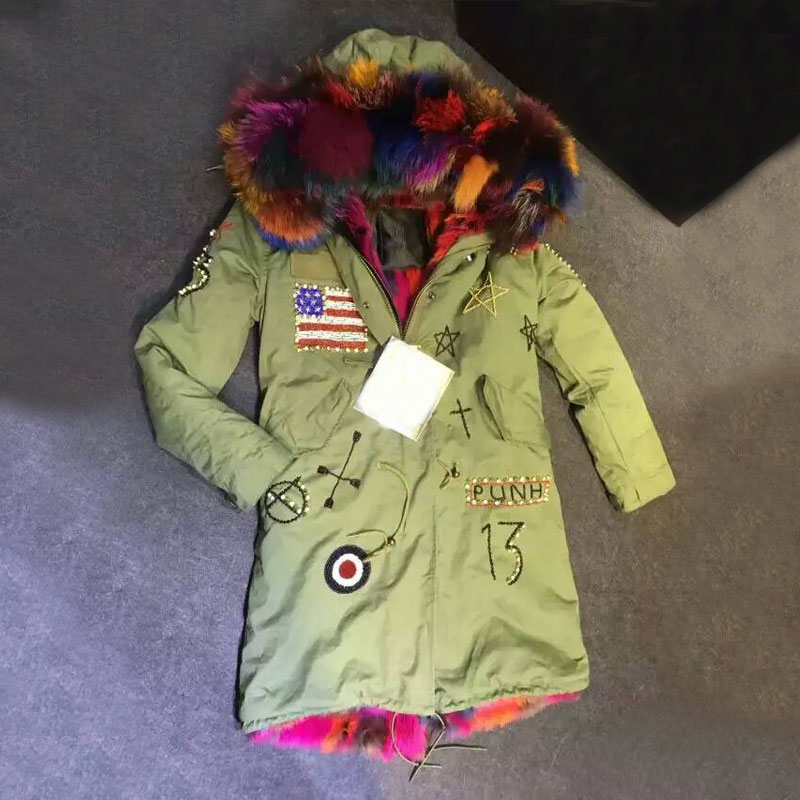 Fashion America Beading long style faux fur colorful inside winter coat raccoon fur hooded free shipping