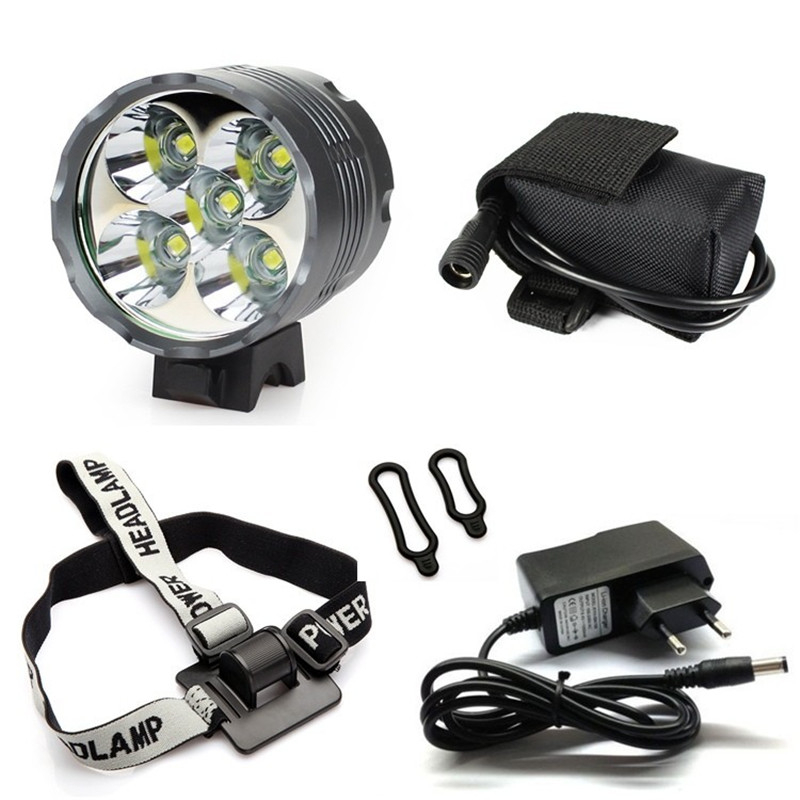 Waterproof Lantern XM-L 5x T6 <font><b>Bicycle</b></font> <font><b>Light</b></font> Headlight <font><b>7000</b></font> <font><b>Lumen</b></font> LED Bike <font><b>Light</b></font> Lamp+ Headlamp 8.4V Charger 9600mAh Battery Pack image
