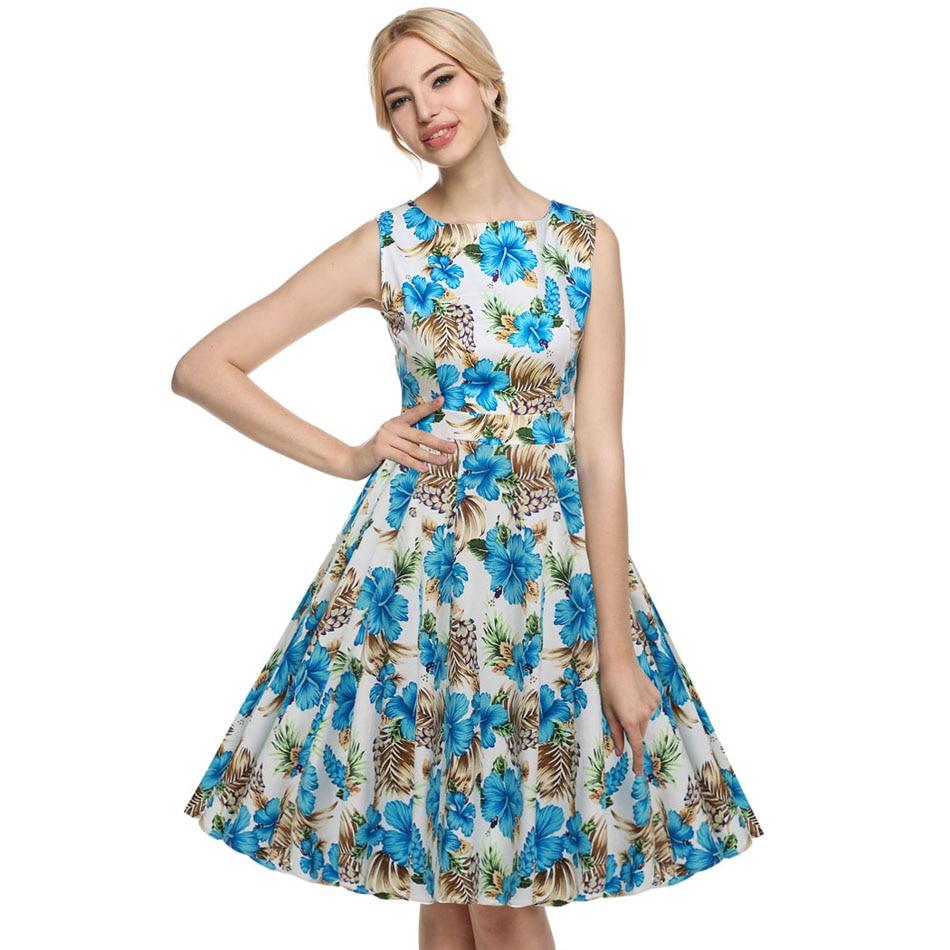 ACEVOG Women Casual Elegant Dress Sleeveless Floral Retro Vintage ...