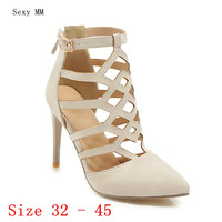Summer High Heels Women D'Orsay Pumps High Heel Shoes Stiletto Woman Wedding Shoes Small Plus Size 32 33 40 41 42 43 44 45 46