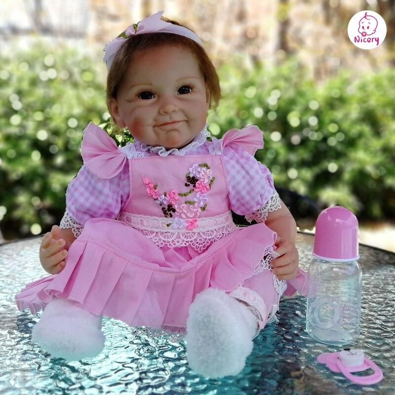 Nicery 18/20 22 zoll 45/50 55cm Bebe Baby Puppe Reborn Weichen Silikon Junge Mädchen Spielzeug Reborn Baby puppe Geschenk für Kind Rosa Blume Puppe-in Puppen aus Spielzeug und Hobbys bei  Gruppe 2