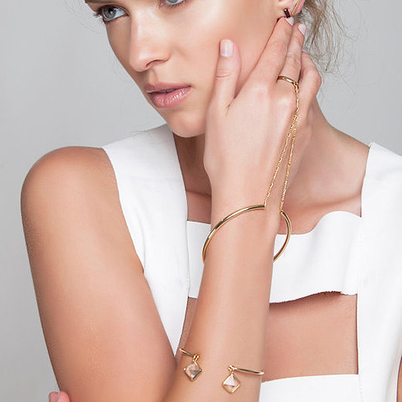 Europe United States Silver Gold Color Alloy Pipe Exaggerated Openings Metal Ring With Cuff Bangles For Women Punk Jewelry Gifts