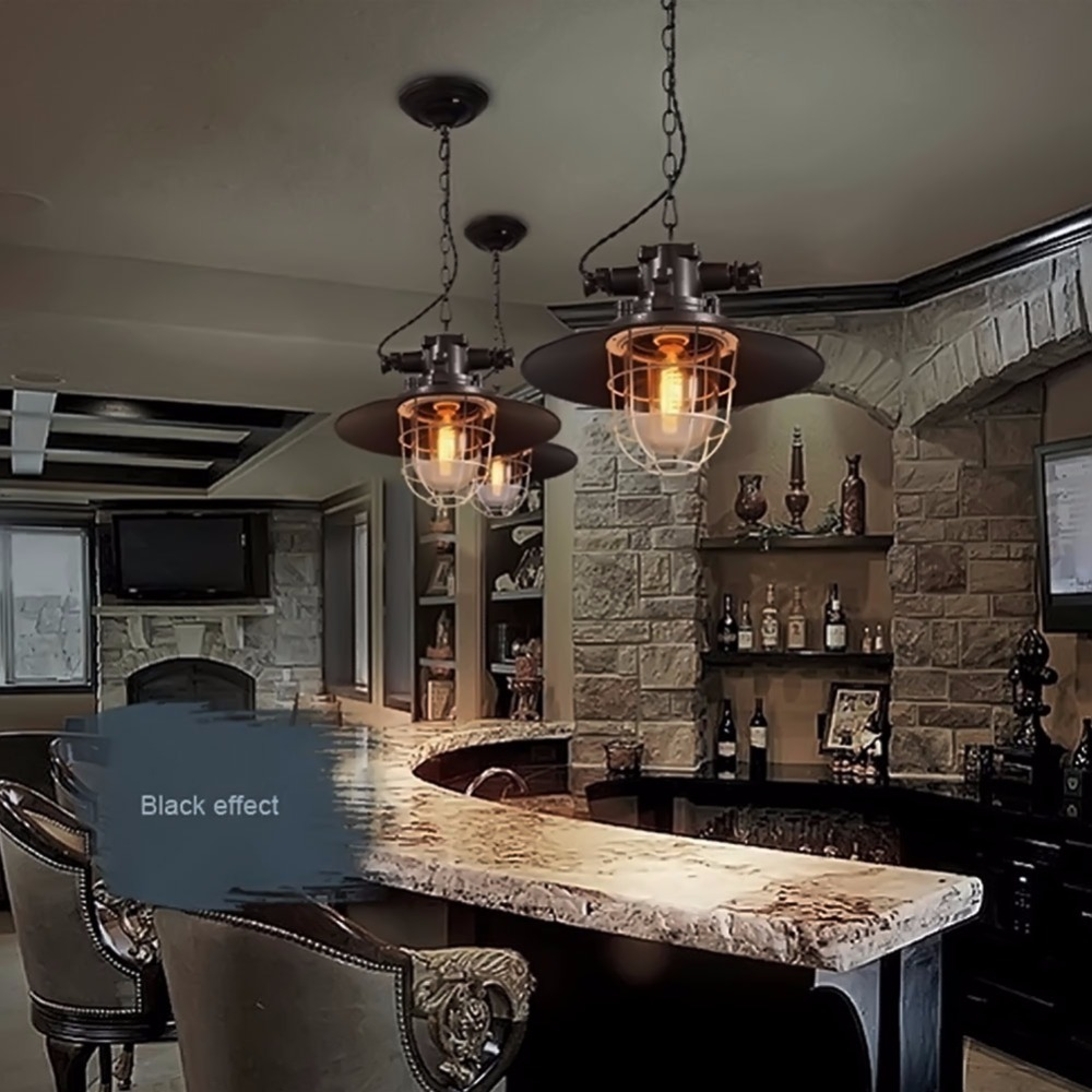 Retro Industrial Pot Pendant Light Vintage E27 Iron Cage Glass Lampshade Explosion-proof Pendant Lamp Kitchen Bar Retro Deco vintage pendant light exotic colored glass lampshade modern industrial bar christmas tree bedroom antique fixture retro loft