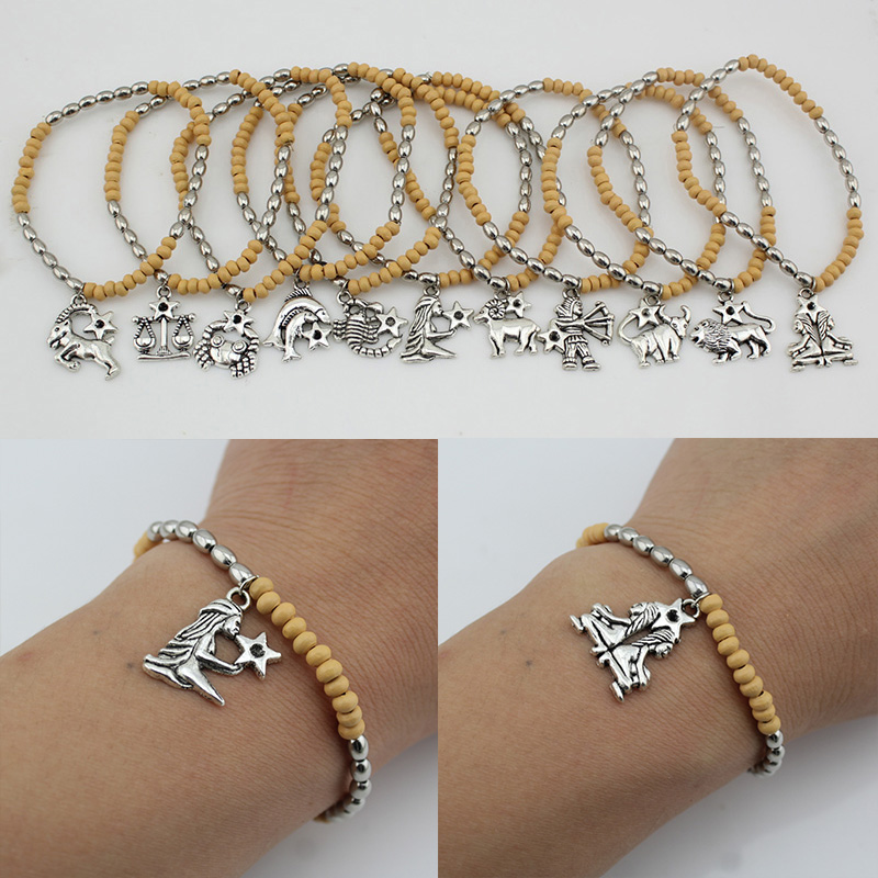 BOLIZE 2017 New Womens Fashion Vintage Silver 12 Zodiac Signs Elastic Beads Bangle Bracelet DY30 Wholesale