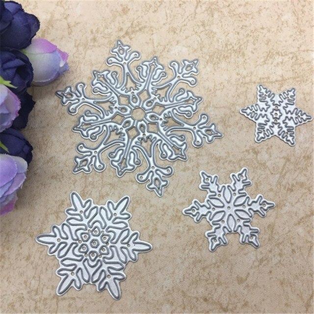 4pcs/set Snowflake Cutting Dies Christmas Metal Cutting Dies Stencils Die Cut for DIY Scrapbooking Album Paper Card Embossing