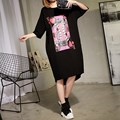 2017 New Long Style Women Short Sleeve T-shirt Casual Plus Size O-neck Loose Print Tops Black ATT323